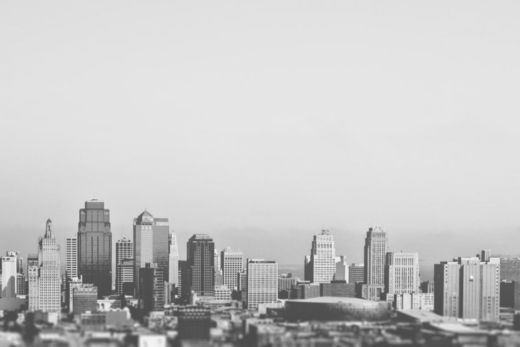 black and white picure of a generic city