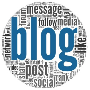 The word blog in blue surrounded by other blog-related words, forming a circle around it