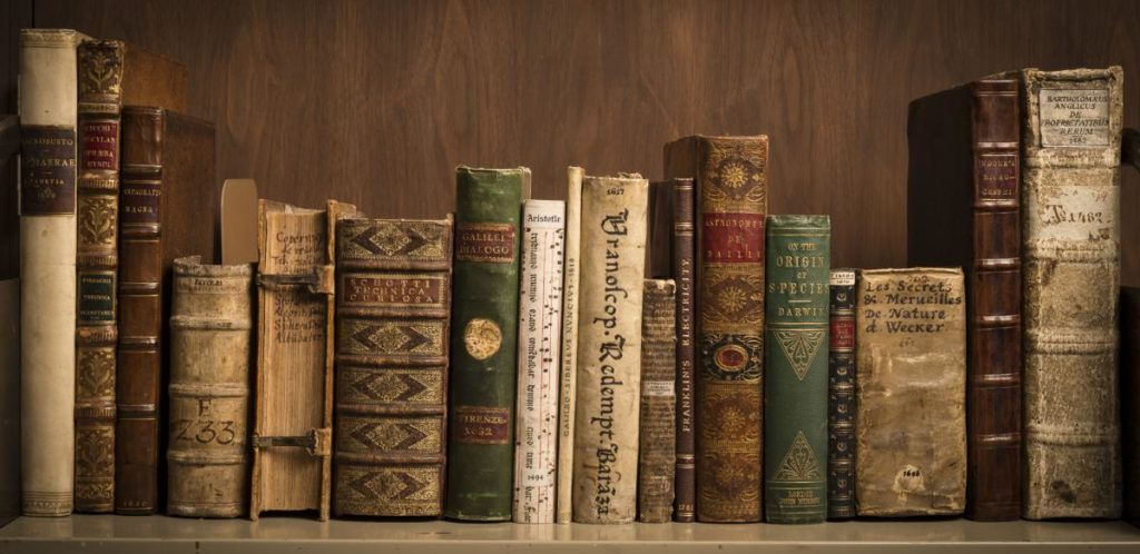 Books, academic and old looking, sitting side-by-side on a wooden shelf