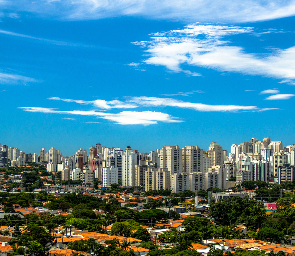 Skyline of Sao Paulo brazil on a sunny day with blue skies