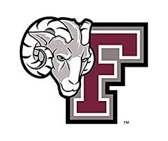 Fordham University's Logo, a big maroon F with a ram beside it