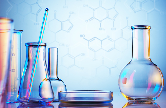 clear beakers in a lab