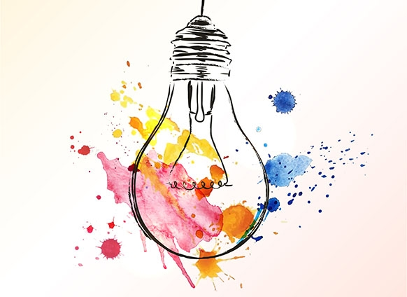 Abstract sketch of a lightbulb with smears of colors around it