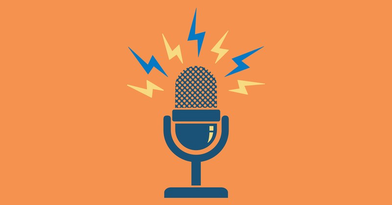 Drawing of a microphone, with orange background, and buzzing electricity bolts coming out of the microphone