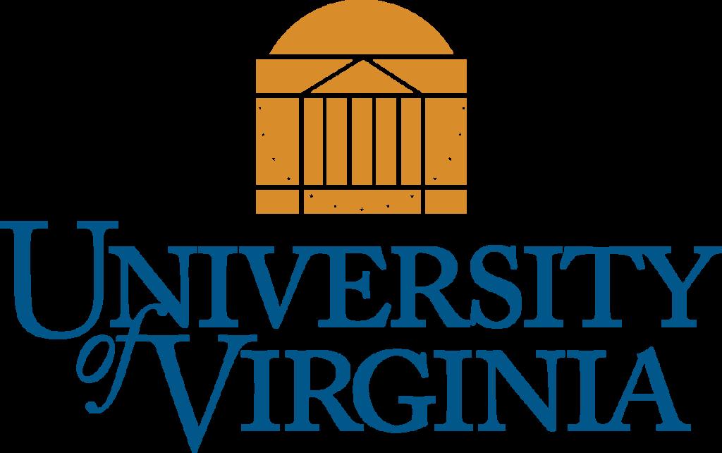 "UVA's Logo, has an orange domed building behind the words ""University of VA"""